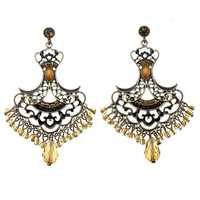 Vintage Rhinestone Crystal Hollow Beads Tassel Earrings Ear Drops
