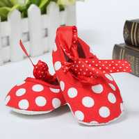 Newborn Girl Baby Infant Toddler Bow Dot Crib Pram Soft Sole Shoes