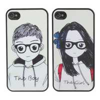 Glasses Lovers Couple Hard Back Plastic Case Cover For iPhone 4 4s