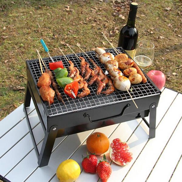 VRJ US$48.44 Outdoors BBQ Portable Charcoal Grill Household Folding Rack Grill