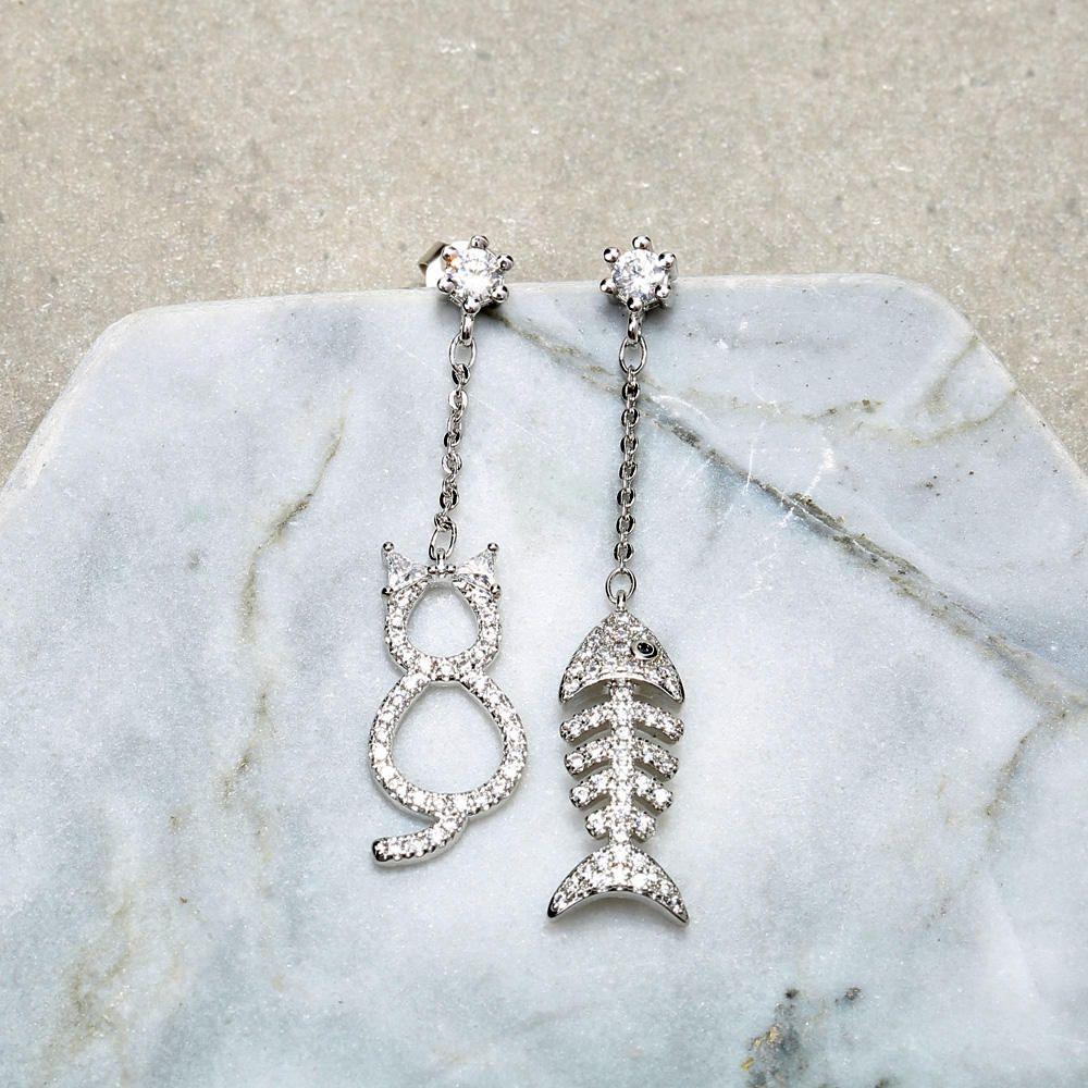HWQ US$29.99 JASSY Cute Cat with Fishbone Dangle Earring Asymmetric 925 Sterling Silver Earrings for Women Gift