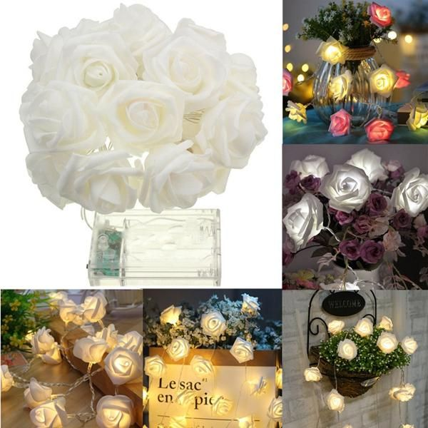MUQ US$3.05 Battery Powered 1M 9LEDs Warm White Indoor Bedroom Decor Wedding Rose Flower Fairy String Light