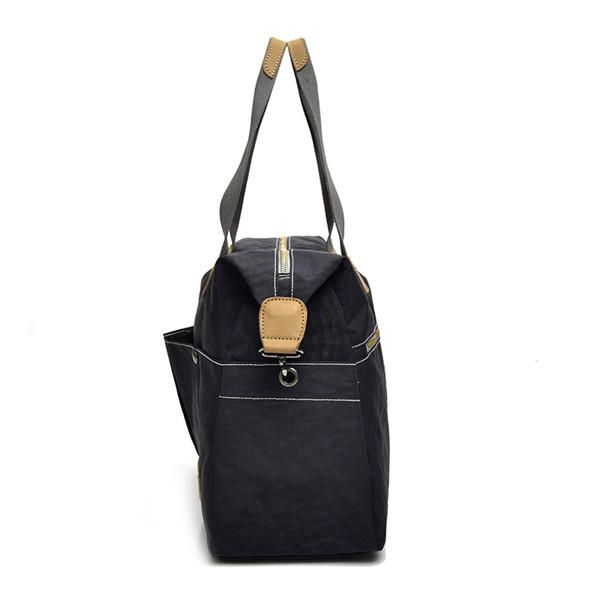 OQI US$63.97 Women Vintage Nylon Tote Handbags Front Pockets Shoulder Bags Capacity Crossbody Bags