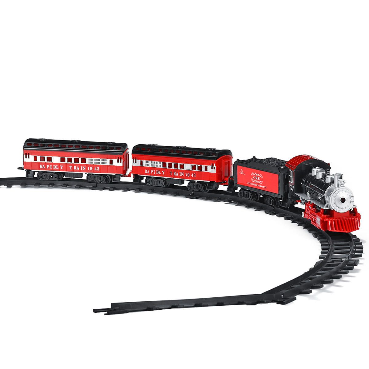 YHE US$28.26 Smoke Light Simulation Sound Effect Classical Steam Train Assembled Electric Rail Car Track Toys