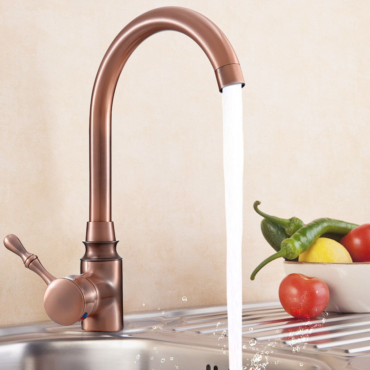 VTN US$44.98 TAPCET Red Copper Antique Kitchen Basin Sink Faucet Hot&Cold Water Mixer Tap