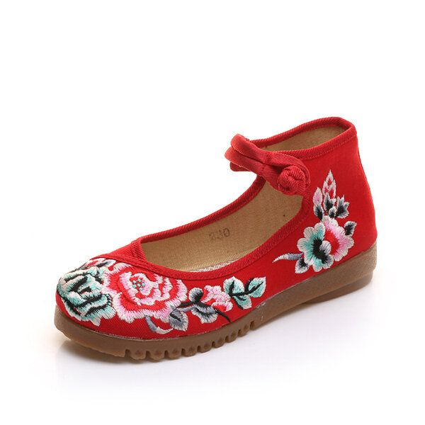 URT US$41.59 Mary Janes Chinese Embroidered Flower Casual Flat Buckle Shoes