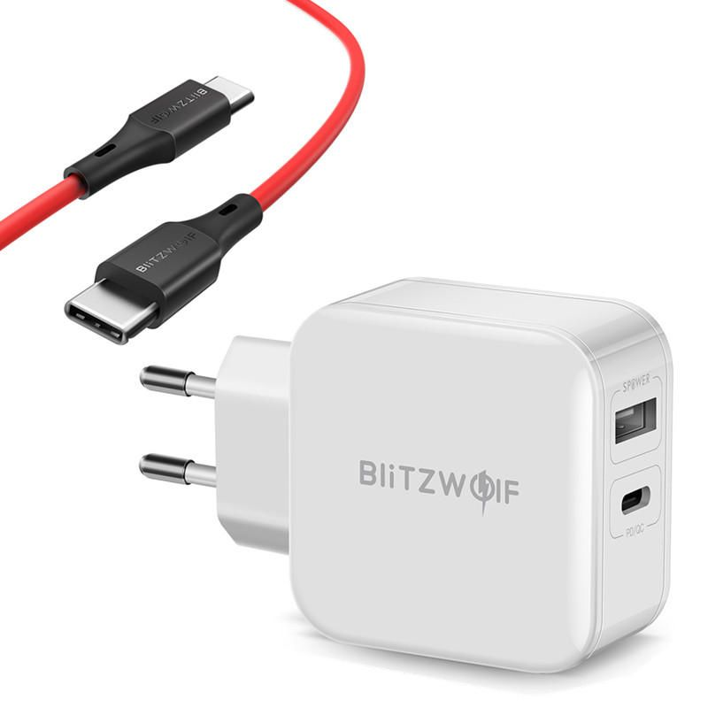 NCU US$17.15 BlitzWolf BW-S11 30W Type-C PD/QC3.0+2.4A Dual USB Charger EU Adapter + BW-TC17 3A USB PD Type-C to Type-C Charging Data Cable 3ft/0.9m