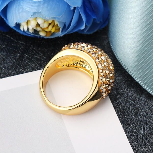 HGU US$15.99 JASSY® Gold Ring Full Crystal Shadow Micro Inlay Statement Engagement Ring for Women