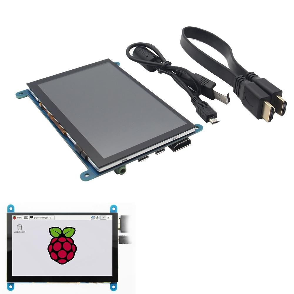 ILD US$49.66 5 Inch 800x480 HDMI Touch Capacitive LCD Screen With OSD Menu For Raspberry Pi 3 B+ / BB Black / Banana Pi / PC / Xbox360 / PS4 / Nintendo