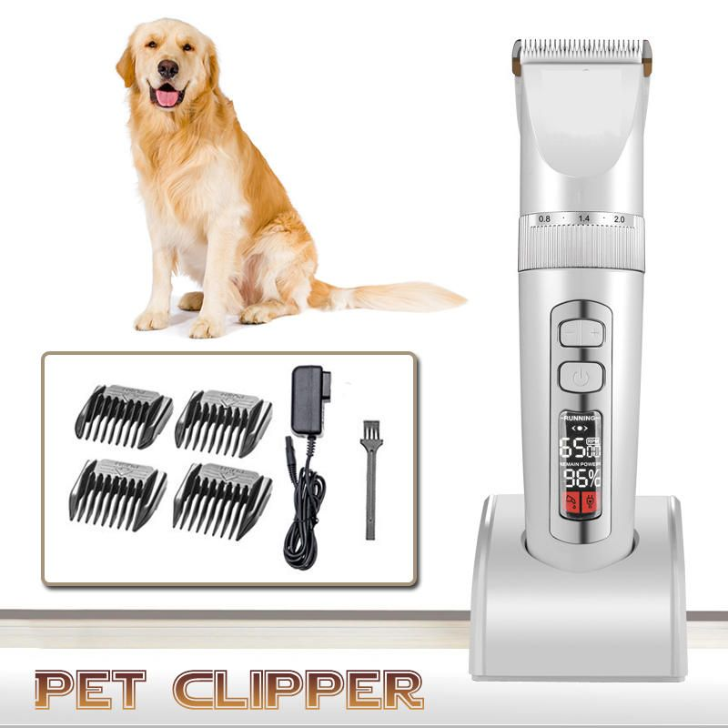 GQJ US$39.33 LCD Rechargeable Pet Hair Trimmer Low-noise Cordless Electric Clipper Hair Remover Cutter with Comb for Cat Dog Grooming Tools