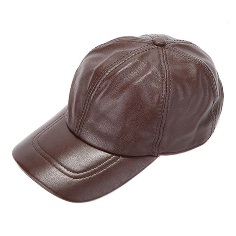 TDJ US$42.01 Mens Winter Windproof Cow Leather Baseball Cap Fashion Outdoor Adjustable Forward Hat