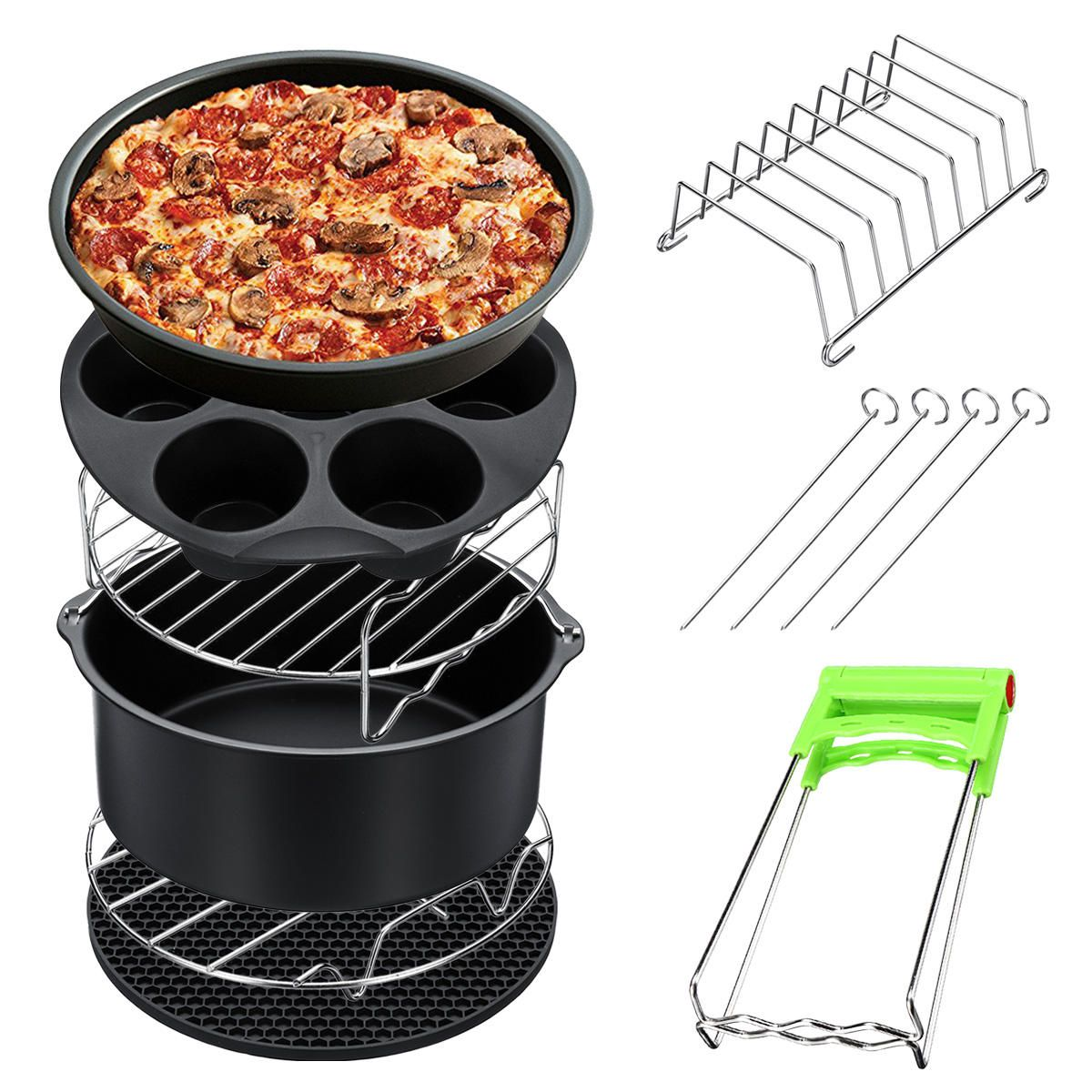 MDR US$37.90 8Pcs 8 Inch Air Fryer Accessories Set Chips Dish Baking Pizza Pan Kitchen Toolss 5.2~5.8QT