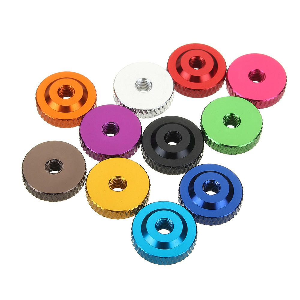 DXH US$3.05 Suleve M3AN12 10Pcs M3 Knurled Thumb Nut w/ Collar Screw Spacer Washer Aluminum Alloy Multicolor