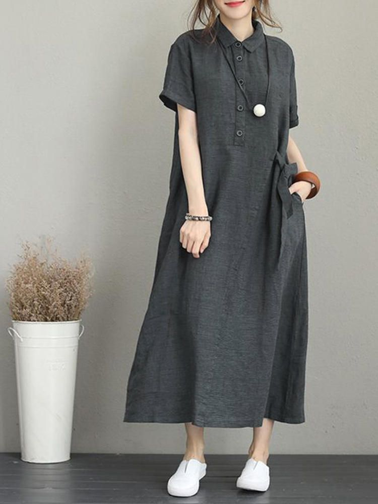 HTA US$24.46 Women Casual Button Down Casual Loose Short Sleeve Dress with Pockets