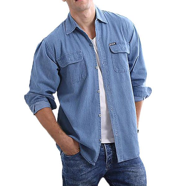 RPJ US$37.99 Fashion Casual Loose Water Washed Cotton Denim Shirts Coat for Men