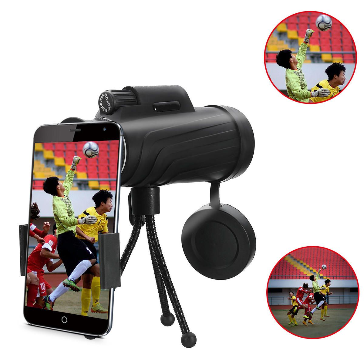 JXQ US$26.25 PANDA 40X60 HD Zoom Lens Camping Travel Waterproof Monocular Telescope+Tripod+Clip for Cell Phone