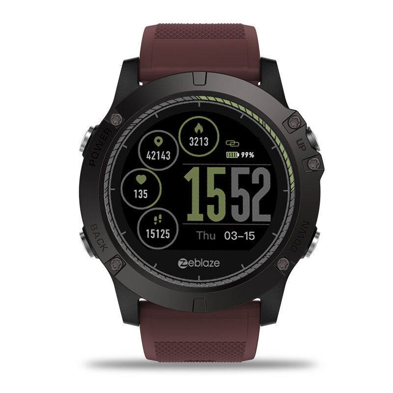 XUP US$36.34 Zeblaze VIBE 3 HR Rugged Inside Out HR Monitor 3D UI Sport Track 1.22inch IPS Smart Watch