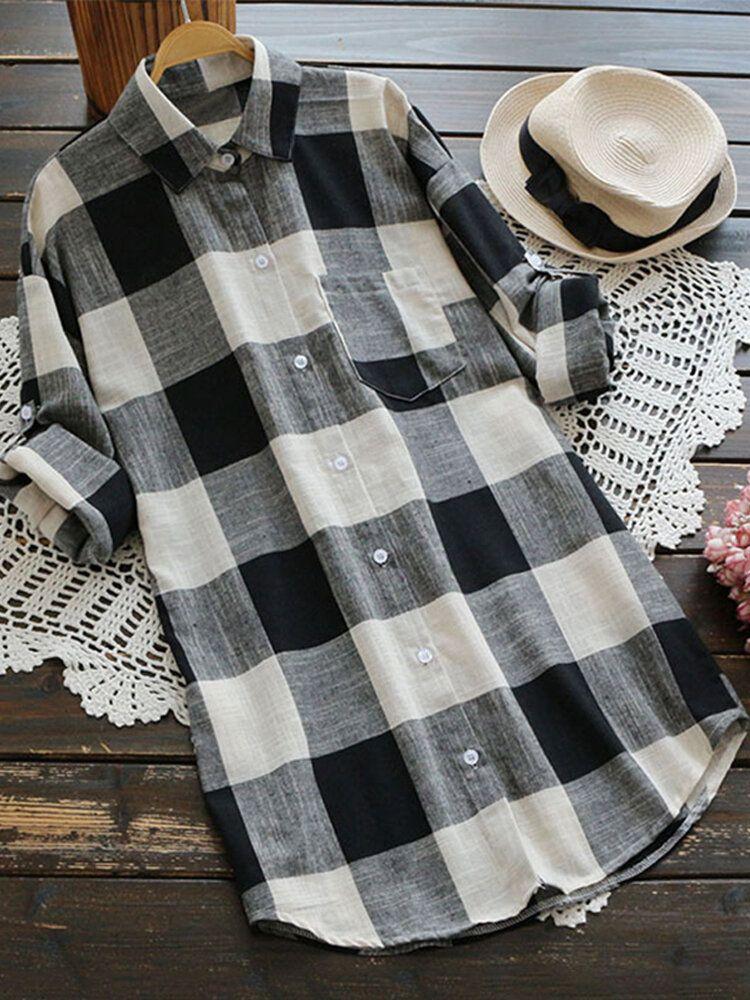 VET US$21.99 S-5XL Women Long Sleeve Button Down Plaid Tunic Blouse