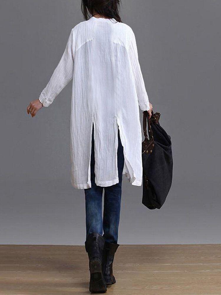 HMI US$23.99 Women Vintage Buttons V Neck Long Sleeve Casual Shirt Dress