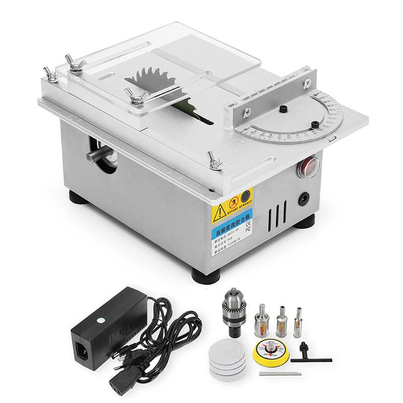EWE US$125.74 Raitool™ T4 Mini Table Saws Wood Working Bench Lathe Electric Polisher Grinder DIY Model Cutting Saw