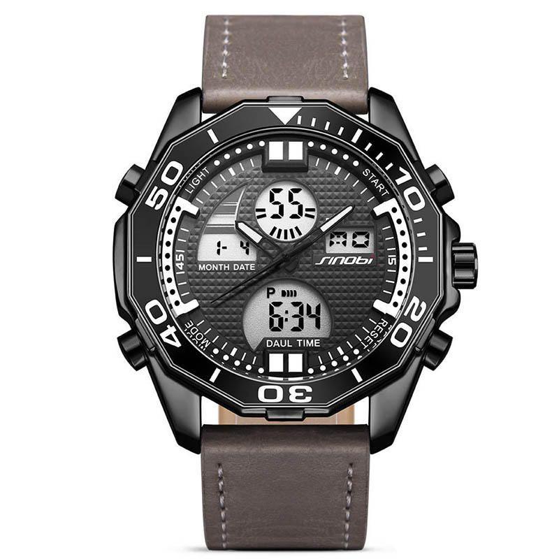 ZDI US$28.99 SINOBI 9730 Dual Display Digital Watch Fashion Leather Strap Men Luminous Display Sport Watch
