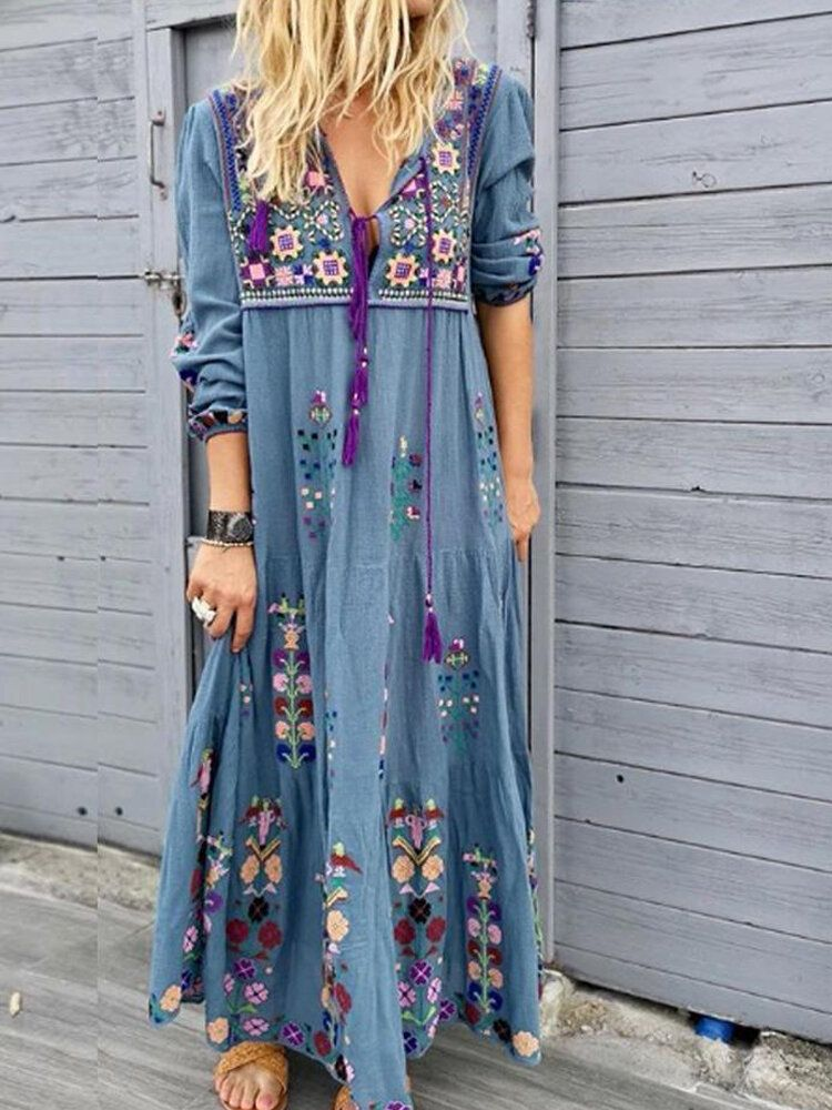 XKF US$34.32 Bohemian Casual Patchwork V Neck Floral Embroidery Maxi Dress