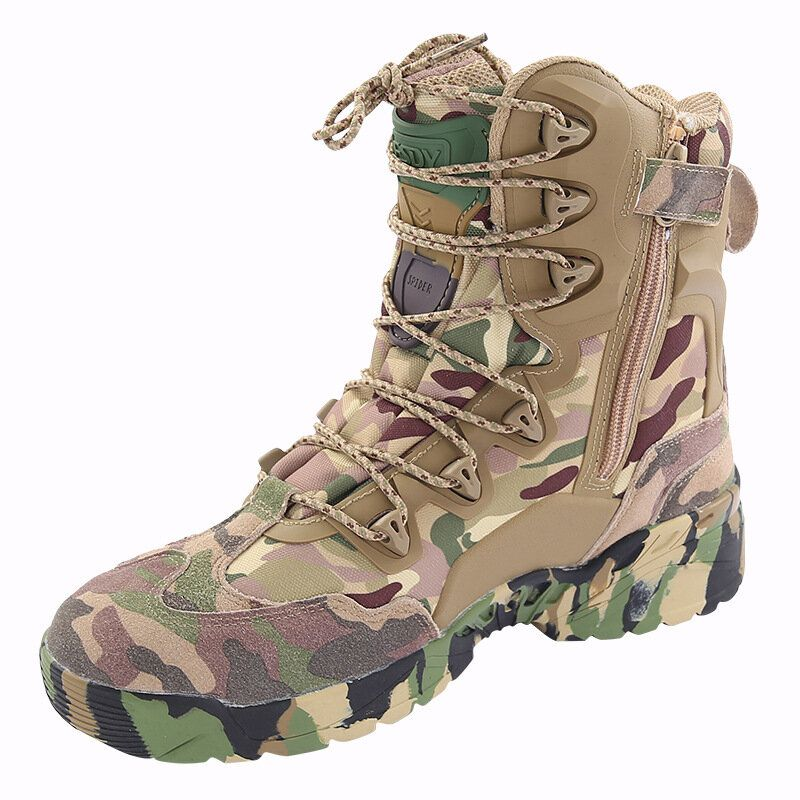 WWI US$110.76 ESDY Men Tactical Winter Army Boots Desert Shoes Outdoor Hiking Leather Military Combat Male