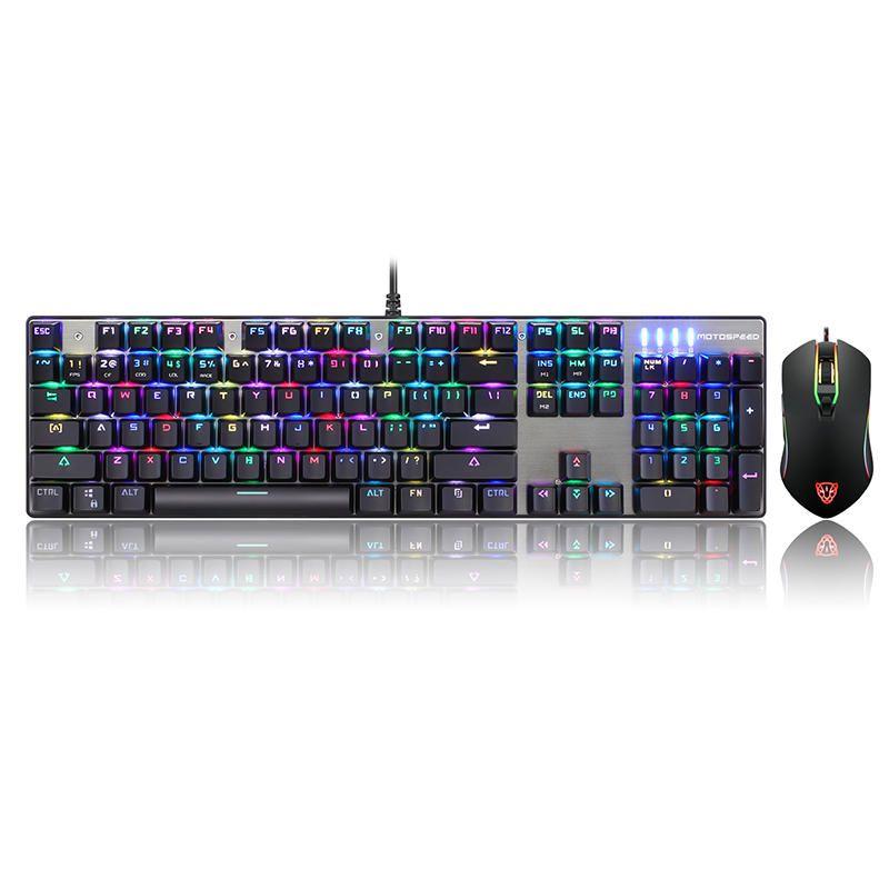 KBU US$56.16 Original Motospeed CK888 NKRO Blue Switch 104Key Mechanical Gaming Keyboard and Mouse Combo