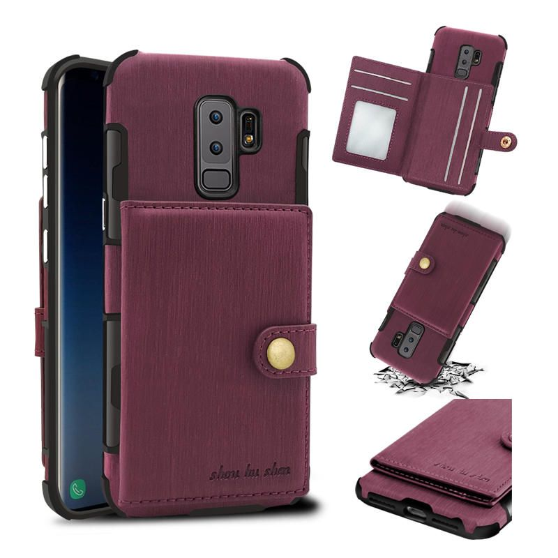 YYT US$9.26 Brushed Finish Vintage Wallet Card Slots Protective Case For Samsung Galaxy S9/S9 Plus