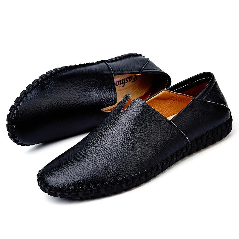 HPL US$56.94 Large Size Men Soft Sole Genuine Leather Loafers Slip On Flats