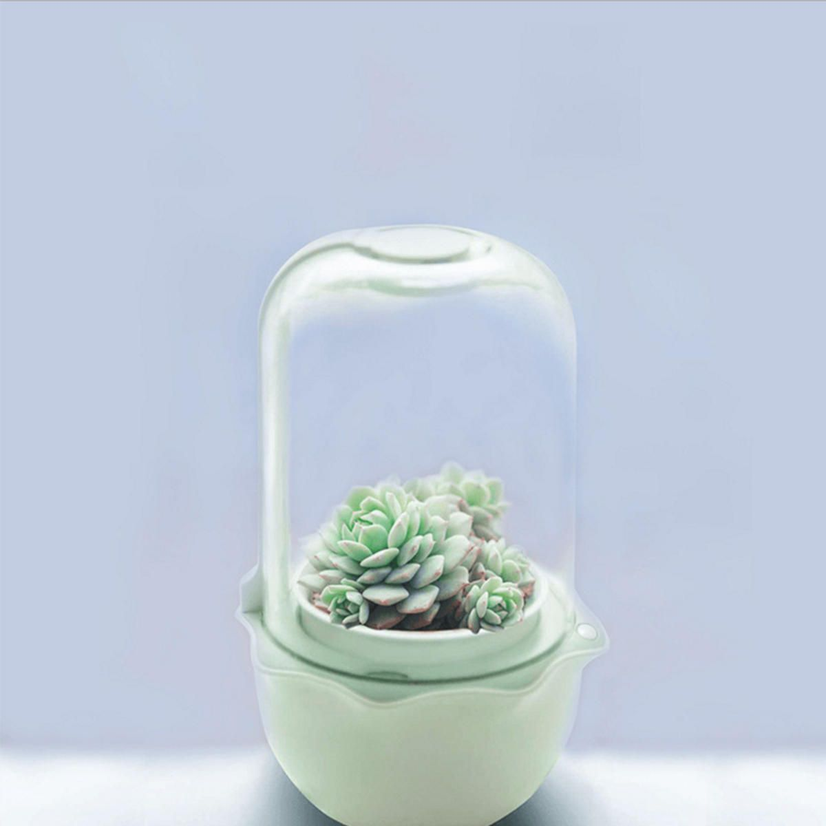 CFO US$34.94~42.94 USB WiFi Intelligent Glass Succulent Plant Container Flower Pot Ecological Bottle LED Light Water Reminder