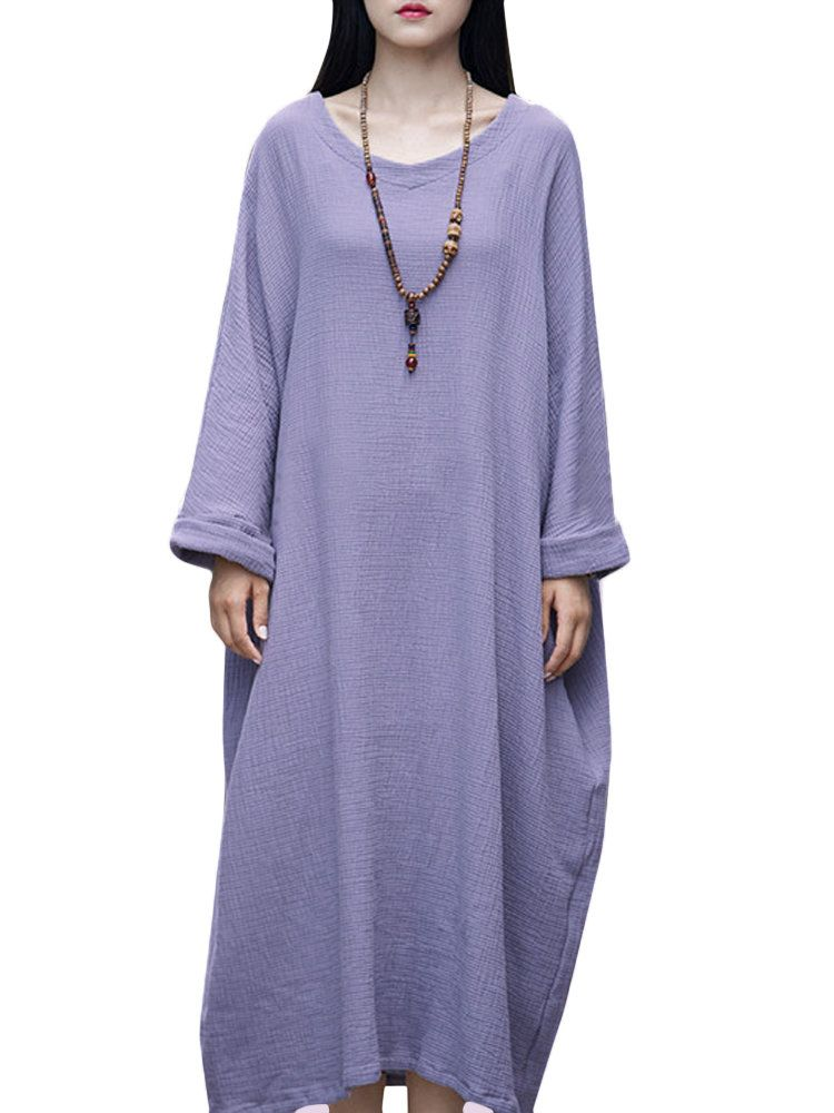 TDR US$40.59 Casual Brief Pure Color Loose Robe Women O-Neck Long Sleeve Maxi Dress