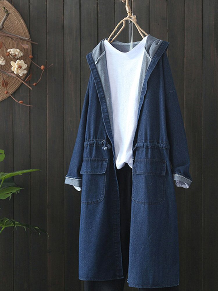 DAE US$36.71 Casual Women Drawstring Long Sleeve Hooded Denim Coats with Pockets