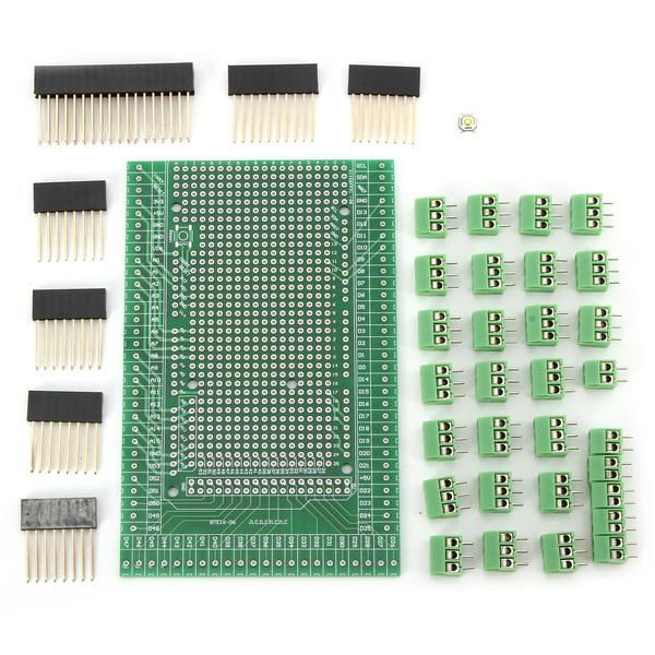 GDZ US$10.99 Double-side PCB Prototype Screw Terminal Block Shield Board Kit Mega2560 R3 Geekcreit for Arduino - products that work with official Arduino boards