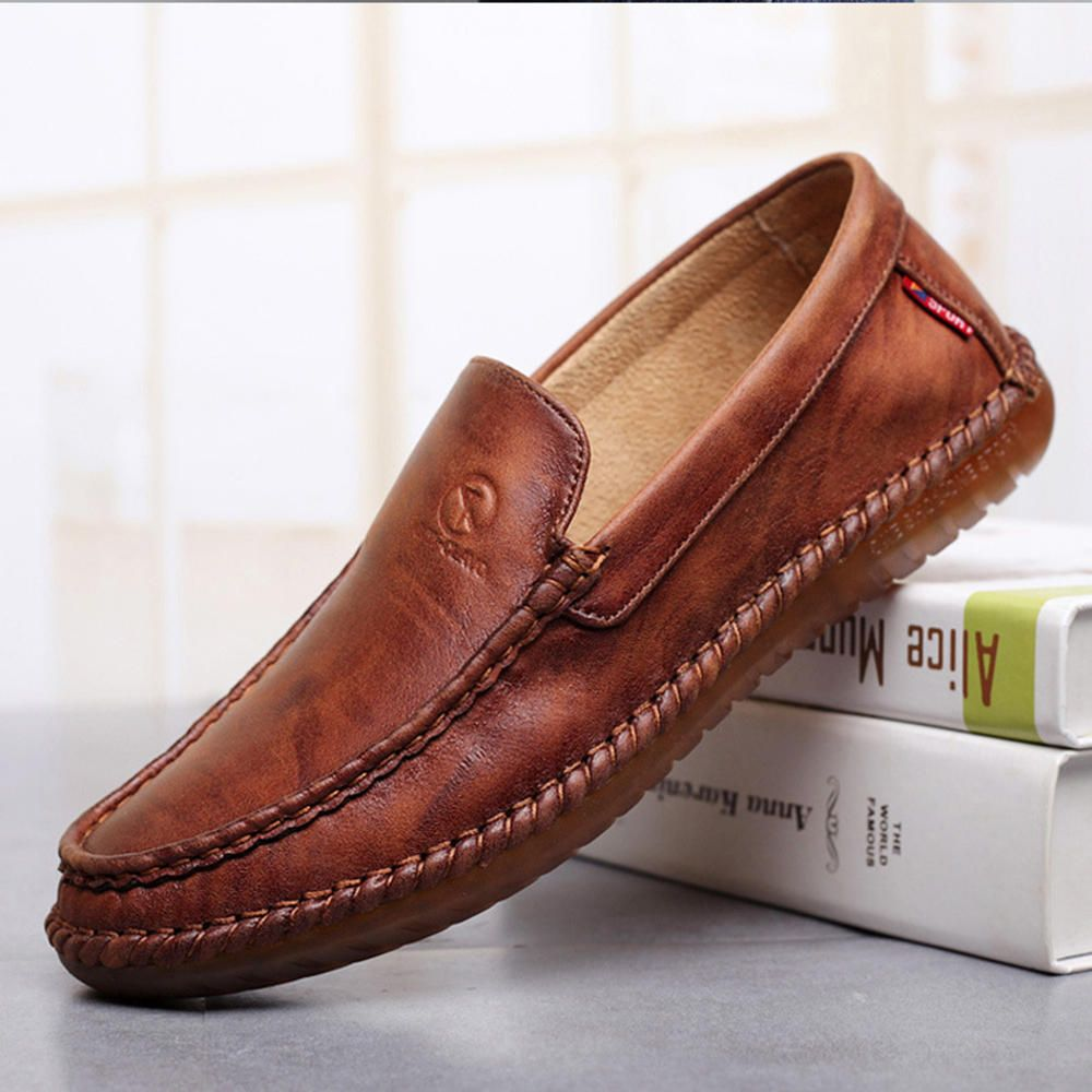 MQZ US$33.99 Non-Slip Casual Hand Stitching Leather Soft Sole Walking Oxfords