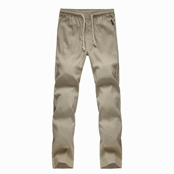 SZK US$38.47 Mens Breathable Loose Cotton Linen Solid Color Pants With Drawstring