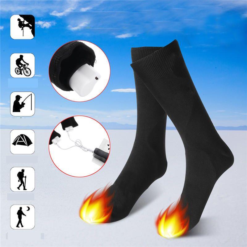 ESO US$31.25 1 Pair 3.7V USB Rechargeable Battery Heated Socks Winter Outdoor Sports Bike Heating Socks Electric Feet Warm Socks