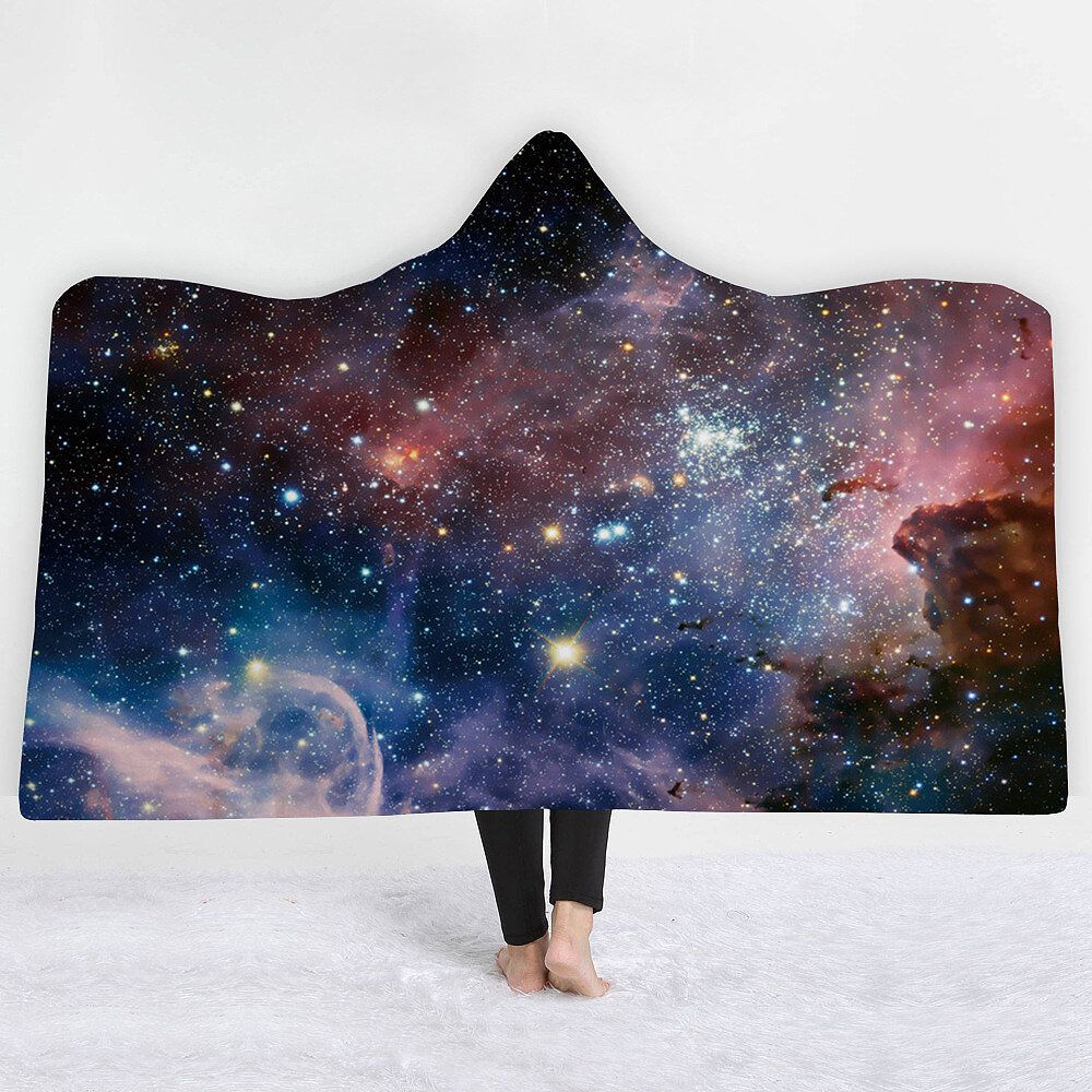 YOU US$42.40 Winter Galaxy Star Plush Wearable Hooded Blankets Throw Dual Layer 3D Printing