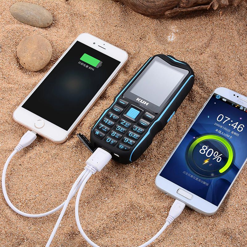 YCT US$30.92 KUH T3 2.4'' 4000mAh Dual Flashlight bluetooth Power Bank Dual Sim Card Rugged Feature Phone