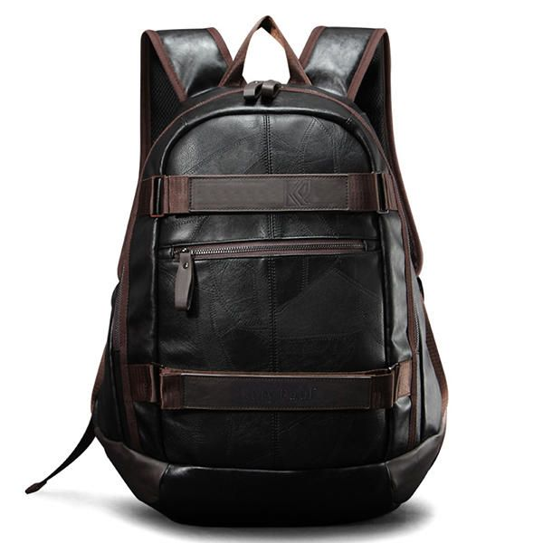NIY US$62.41 Men Faux Leather Outdoor Fashion Large Capacity Backpack Laptop Bag