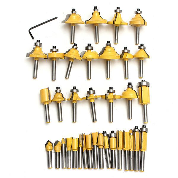 GRQ US$46.90 35pcs 1/4 Inch Router Bit Set Tungsten Carbide Woodworking Cutter Rotary Tool