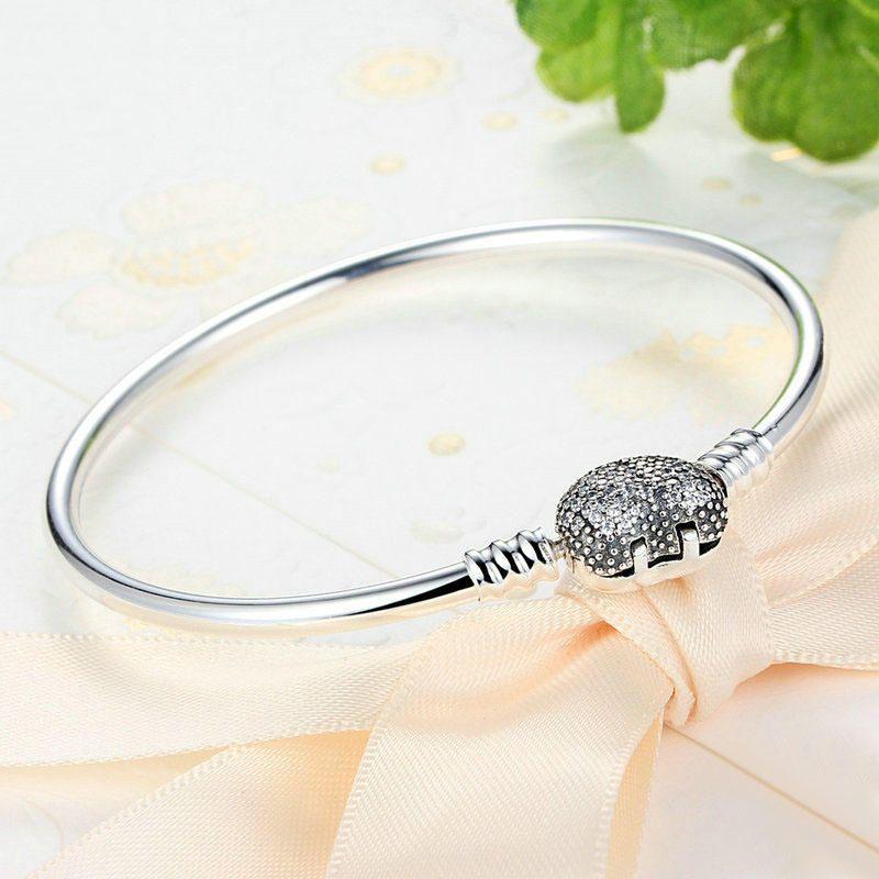 ENO US$51.99 Elegant 925 Silver Zircon Heart Shaped Buckle Bracelet Bangle For Women