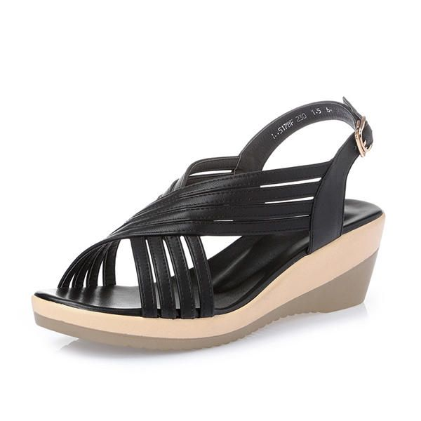ZPB US$65.63 Genuine Leather Hollow Out Shoe Casual Comfy Wedge Sandals