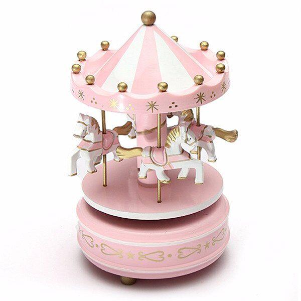 UXF US$24.65~25.23 Kids Carousel Music Box Merry Go Round Musical Devolopment Toys Room Decor