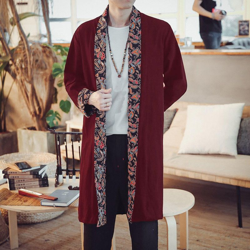 OFV US$26.99 INCERUN Ethnic Style Casual Loose Mid Long Cardigan Cloak Coats for Men