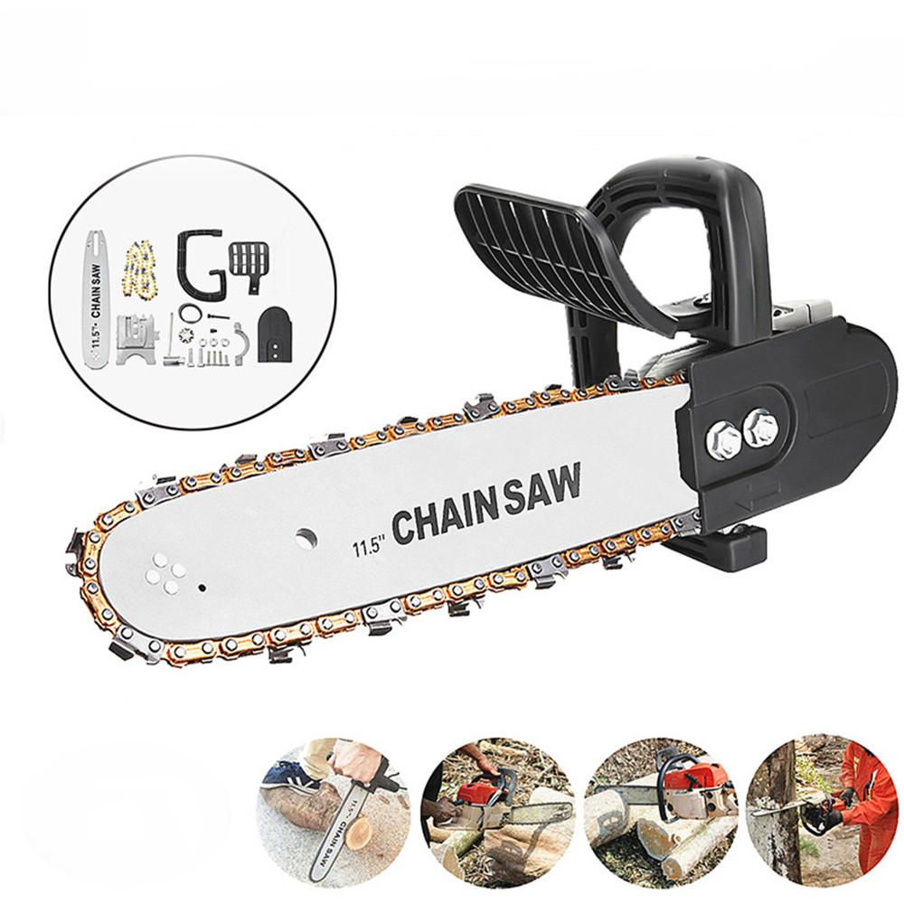 QTC US$33.03 11.5 Inch Woodworking Chainsaw Bracket Upgrade Gold Chain Kit For Angle Grinder