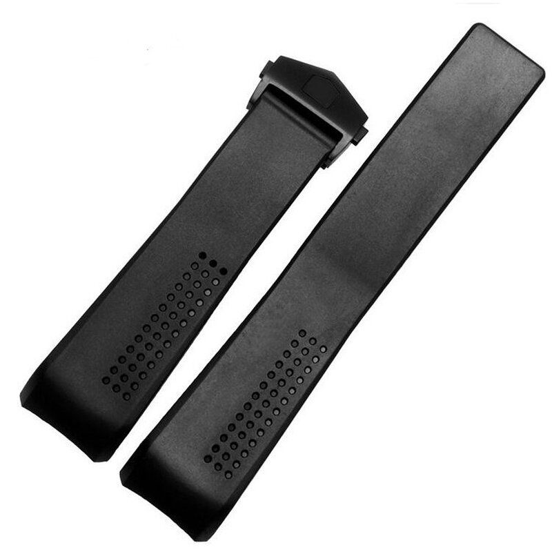 PIP US$13.70 Black Silicone Watch Strap Band Folding Clasp For 22mm Bayonet Position Watch