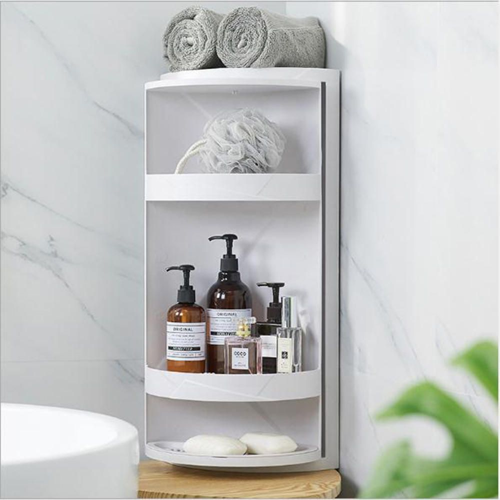 FDW US$43.69~48.69 Rotary Triangle Shelf Dustproof Antibacterial Storage Rack Wall Corner for Bathroom Kitchen Bedroom Grey/White