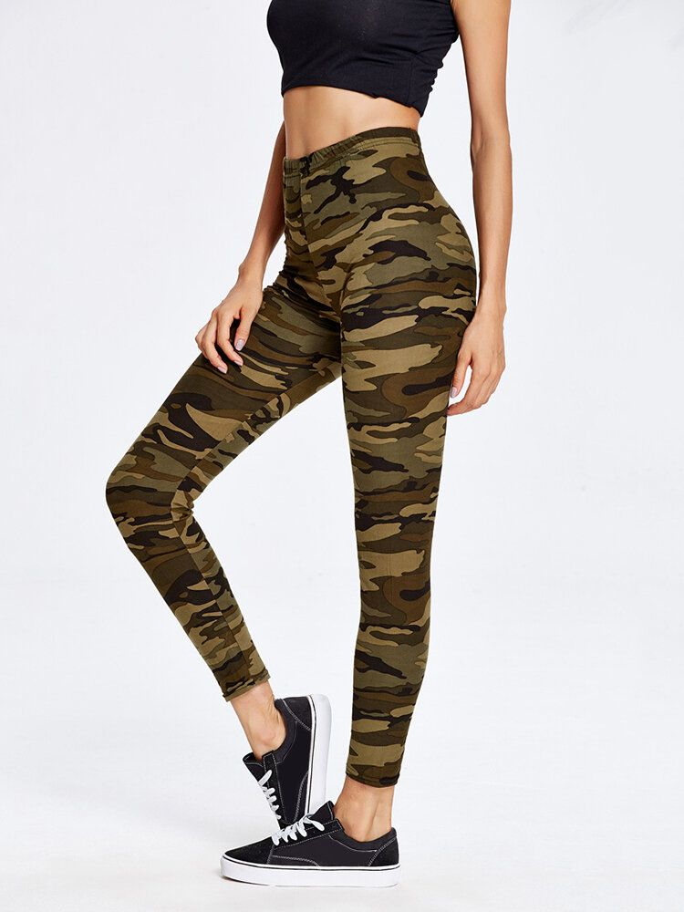 LWV US$19.88 Camouflage Printed Elastic Waist Yoga Sport Casual Leggings For Women
