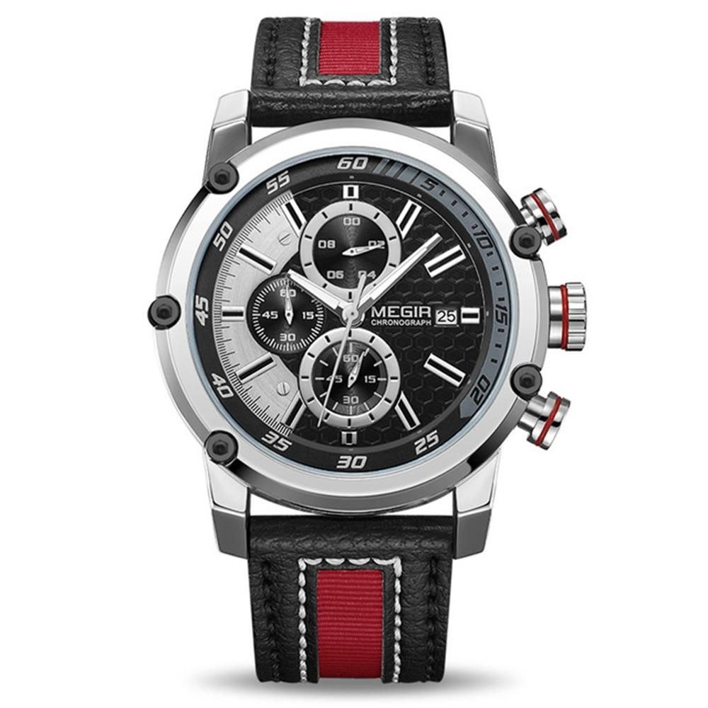 ITZ US$28.29 MEGIR 2079 Chronograph Sport Men Watch Date Display Leather Strap Quartz Watches